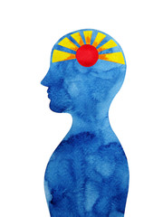 sun shine in human head abstract thought watercolor painting illustration design