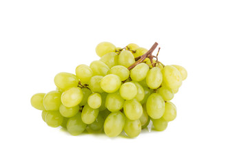 bunch of ripe green grapes on a white background