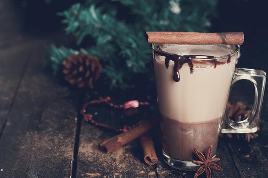 caramel coffee latte. Toned photo