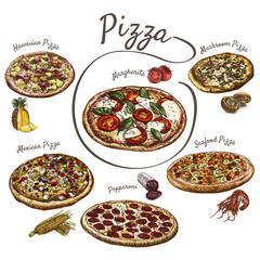 Illustration of pizzas