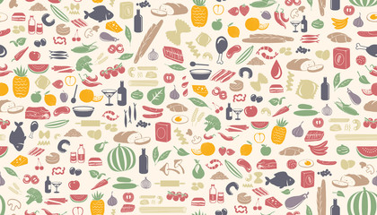 Seamless food pattern made from small illustrations.