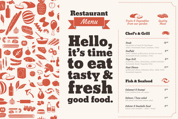Restaurant Menu brochure. Bill of fare design template with food illustrations and nice typography.