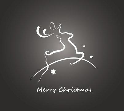 Weihnachten Grußkarte mit springendem Rentier