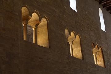 Mullioned windows of romanesque St George Basilica