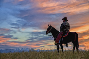Cowboy on horseback silhouette,photo art