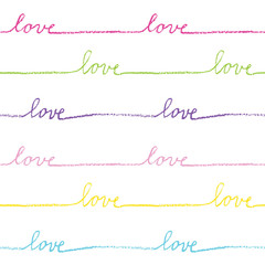 Love. Seamless pattern. Hand drawn. Decorative background.