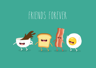 Funny breakfast. Сup of coffee, egg, bacon, toaster. Vector illustrations.