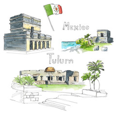 Watercolor Hand drawn architecture sketch illustration of Tulum Mexico landmarks set with country flag and lettring isolated on white