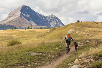 A woman  mountain biking in the San Juan National Forest, Silverton, Colorado.