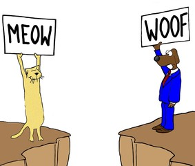 Color business image showing a business cat and dog who do not understand each other.