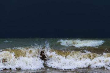 Ocean waves in evening
