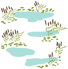 Reeds with pond vector icon set
