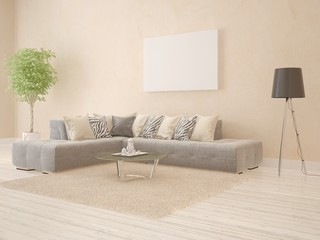 Modern living room with corner sofa and empty frame.