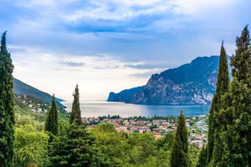 View of Riva Del Garda and Lake Garda, Lombardy, Italy Wall mural