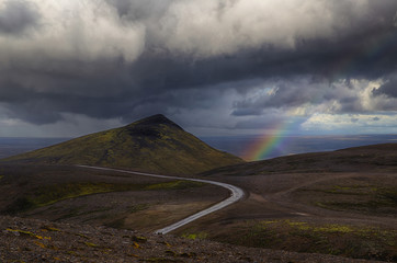 Rainbow over the Icelandic Highlands in Autumn
