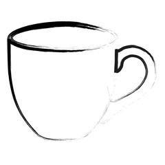 Silhouette outline Cup of black coffee isolated on white. Vector illustration