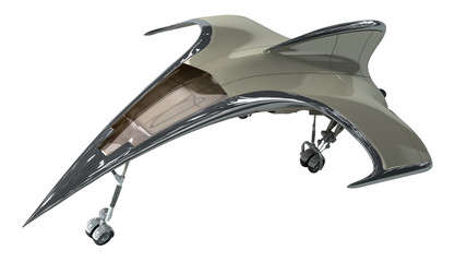 3D Illustration of a futuristic airplane, for science fiction or military aircraft backgrounds, with the clipping path included in the file.