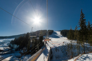 View from the chair lift to the ski slope.