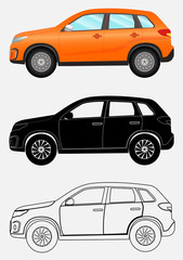 Off-road vehicle in three different styles: orange, black silhouette