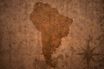 south american map on a old vintage crack paper background