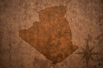 algeria map on a old vintage crack paper background