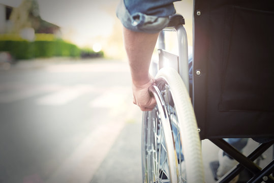 Disabled man on a wheelchair