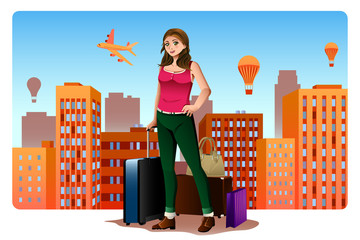 Young Woman Traveling Around The World Concept