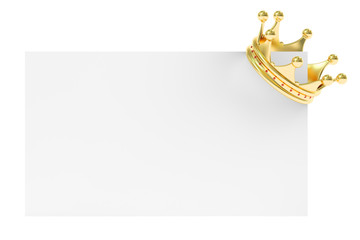 Golden Crown on Blank Card, 3D rendering