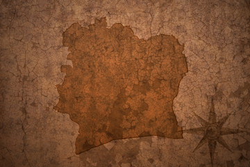 cote divoire map on a old vintage crack paper background