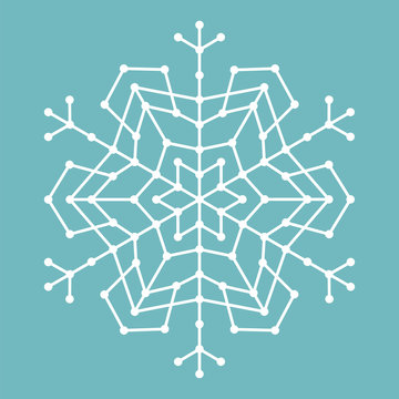 Abstract geometric snowflake with lines and circles