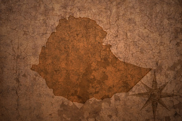 ethiopia map on a old vintage crack paper background