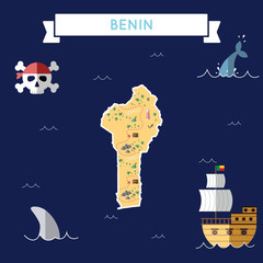 Flat treasure map of Benin. Colorful cartoon with icons of ship, jolly roger, treasure chest and banner ribbon. Flat design vector illustration.