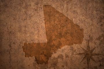 mali map on a old vintage crack paper background