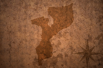 mozambique map on a old vintage crack paper background