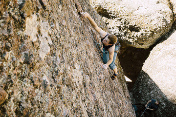 A man rock climbing in Pinnacles National Park