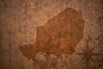 niger map on a old vintage crack paper background
