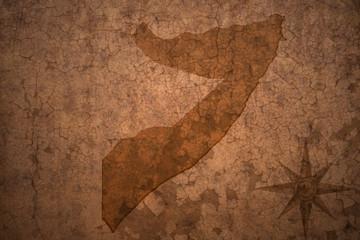 somalia map on a old vintage crack paper background