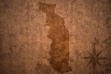 togo map on a old vintage crack paper background