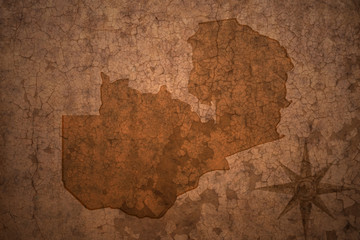 zambia map on a old vintage crack paper background