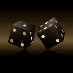 Black and gold dices background