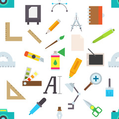 Graphic designer equipment vector pattern