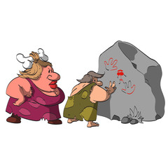 Cartoon vector illustration of a caveman, caught by his big and strong, grumpy wife, watching and paiting cave pictures of naked women