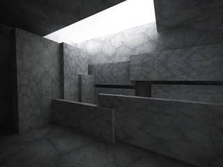 Concrete dark room interior. Architecture background