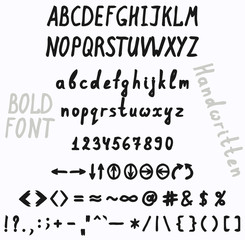 Handwriting font character set
