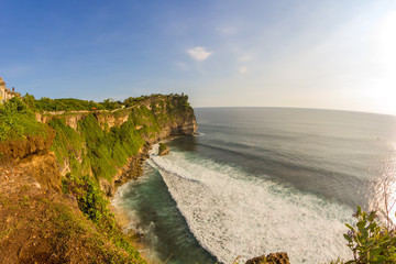 view of a cliff in Bali Indonesia.Uluwatu temple