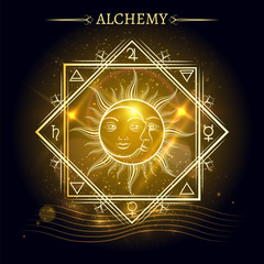 Alchemy elements and sun and moon on shiny background. Vector illustration