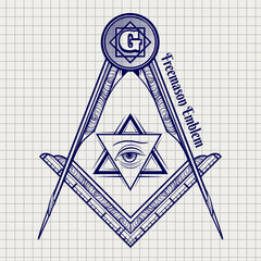 Ball pen freemasony vector sign on notebook background. Vector illustration
