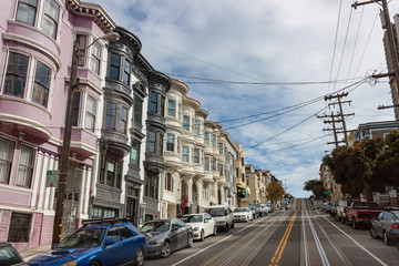 View Up A Steep Street in San Francisco