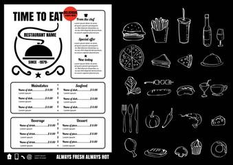 Restaurant Food Menu Design with Chalkboard Background