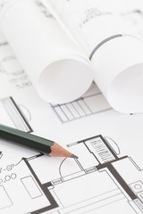 Wall Mural - Architect rolls and plans , Architectural plan , Technical project drawing..